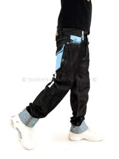 Metro Blue White Pocket Turn Up Denim Jeans Hip Hop Is Time