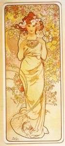 Mucha Art Nouveau Deco Flowers Rose Lily Iris 4 Prints