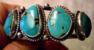 Native American Vintage Sterling Silver and Turquoise Bracelet