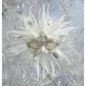 Pack Of 2 White Glitter & Jewel Masquerade Mask Christmas