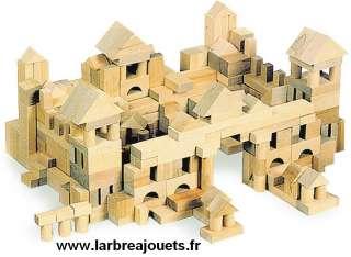 100 pièces de construction en bois naturel dans un sac en lin. 2