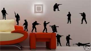 12 X ARMY SOLDIERS wall art sticker vinyl KIDS BEDROOM