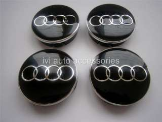 AUDI Metal Wheel Center Caps set 4pcs for ALL 60mm MODELS