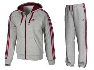 Mens Adidas Full Tracksuit Grey Red UK S to XXL Code: Hood O03398