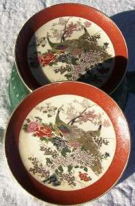 SET OF 2 MARKED SATSUMA JAPANESE PEACOCK BB PLATES
