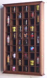 54 Shot Glass Shooter Display Case Wall Cabinet Holder
