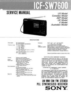 SONY ICF SW7600 COMPLETE SERVICE MANUAL SUPPLIED ON CD