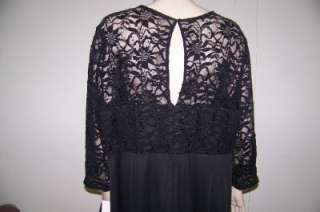 ALEX EVENINGS 20W BLACK LACE/CHIFFON/SEQUINS COCKTAIL DRESS 20W NWT $