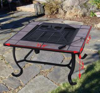 Outdoor Patio Square Fire Pit Metal Stove BBQ Grill Fireplace