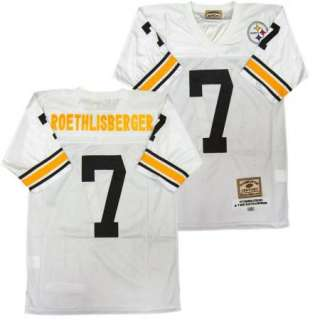 Ben Roethlisberger #7 Pittsburgh Steelers Sewn White Throwback Mens