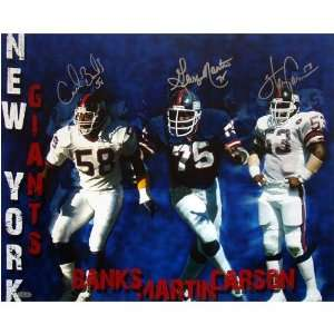 Carl Banks, Harry Carson & George Martin Triple Signed NY Giants
