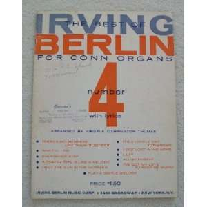 The Best of Irving Berlin For Conn Organs. Book 4