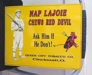 Chewing Tobacco Metal Tin VTG Embossed Nap Lajoie Baseball ad sale