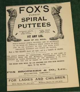 Vintage 1901 Foxs Spiral Puttees Ad Ladies & Children
