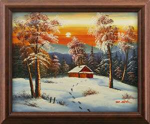 Winter Sunset Snow Steps Cabin Art FRAMED OIL PAINTING