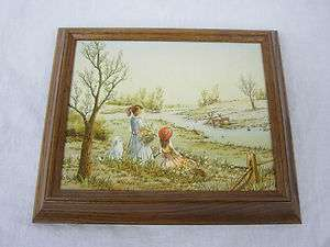 Carson Canvas Oil Serigraph Painting Girls Watching Deer Scene