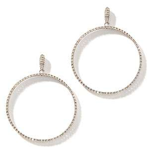 47ct Diamond 14K White Gold Doorknocker Hoop Earrings