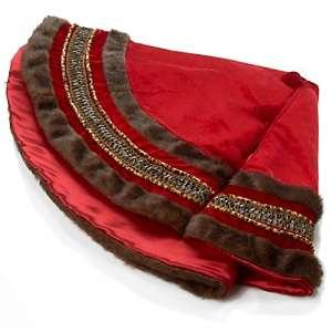 Winter Lane Red Velvet Lined Tree Skirt with Leopard Print Trim