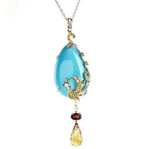 Sleeping Beauty Turquoise and Gem 14K Peacock Enhancer Pendant with