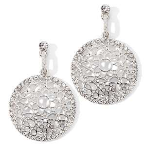 Justine Simmons Jewelry Clear Crystal Silvertone Openwork Drop
