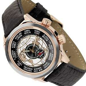 Dual Time Zone Stainless Steel and Leather Strap Watch