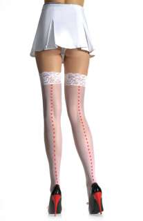 Sheer Thigh High Stockings with Printed Hearts Back Seam and Lace Top