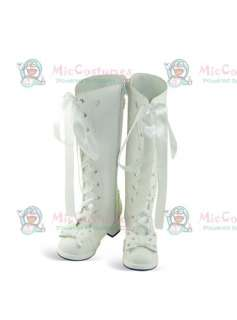 White Oblate Toe Lace Up Ribbon Thick Heel Leather Boots