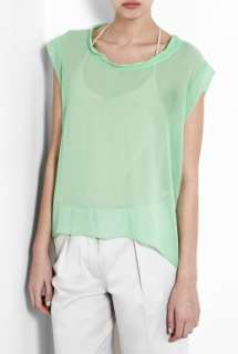 American Vintage  Mint Green Titusville Silk Crepe Sheer T Shirt by