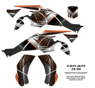 Can Am DS 450 ATV Quad Graphics Kit Decals #7777Orange