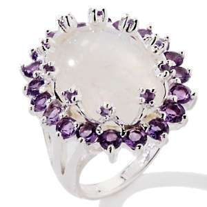Moonstone and Amethyst Sterling Silver Oval Ring