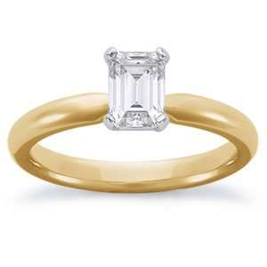 1/2 Carat Emerald Cut Diamond 14k Yellow Gold Solitaire