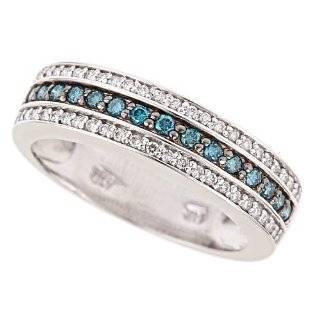 1.30 CT Blue & White Diamond Wedding Band in White Gold