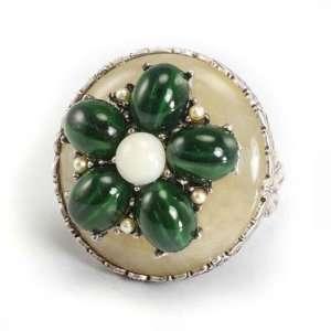Sweet Romance Agate & Malachite Flower Ring Shelley Cooper Jewelry