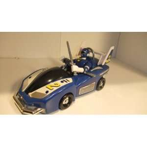 POWER RANGERS BLUE CAR WITH BLUE POWER RANGER FIGURE Toys & Games