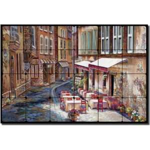Village Scene Tumbled Marble Mural 16 x 24 Kitchen Shower Backsplash
