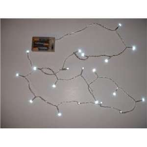 Battery Operated 20 LED Lite Set 65 inch Transparent Wire White LED