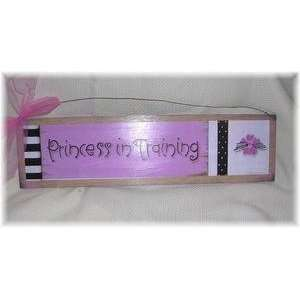 Pink Black White Princess in Training Wall Art Sign Baby