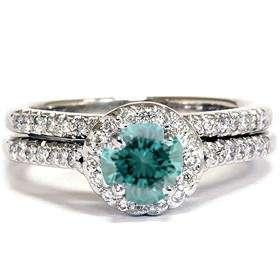 .75CT Blue Diamond Halo Wedding Ring Set 14K White Gold Jewelry