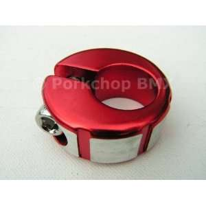 Machined face old school BMX bicycle seat clamp 25.4mm (1) RED