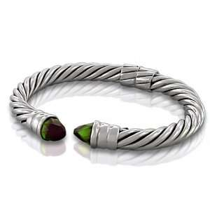 Peridot Gemstone Bullet Tip 8mm Sterling Silver Cable Bangle Bracelet