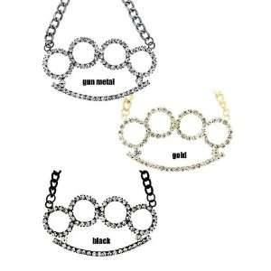 Gun Metal Brass Knuckles Necklace with Clear Crystals