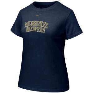 Nike Milwaukee Brewers Ladies Navy Blue Arch Crew T shirt