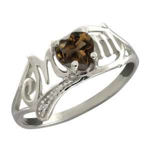 Ct Heart Shape Brown Smoky Quartz and White Topaz Sterling Silver Ring