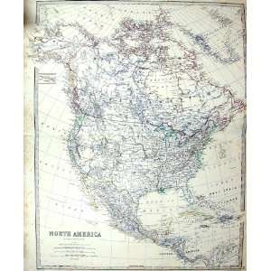 Antique Map C1860 North America Florida Mexico Greenland Canada Home