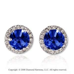 14k White Gold 4 Carat Blue Sapphire Diamond Stud Earrings