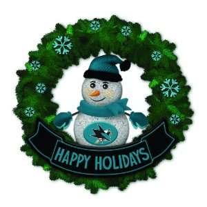Sharks Lighted Snowman Artificial Christmas Wreath