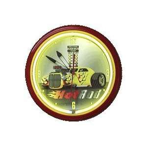 Hot Rod Racing Neon 20 Wall Clock Yellow Made In USA New