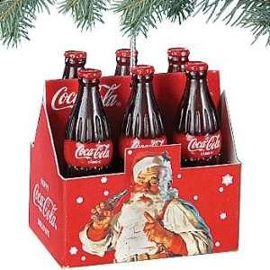 Coca Cola Vintage Christmas Ornament   6 Pack Retro Santa