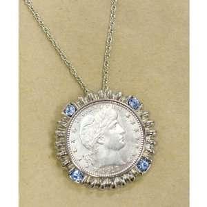 Silver Barber Quarter Silvertone Blue Crystal Coin Pendant Coin
