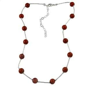 Southwest Moon Sterling Silver Red Coral Station Necklace Jewelry